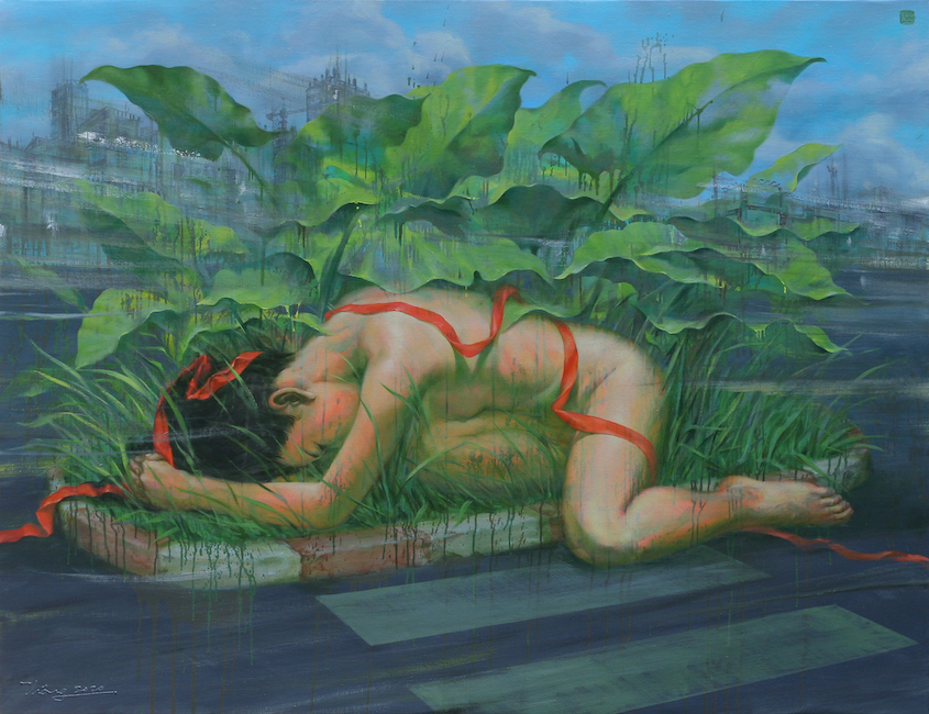 Suy Van 03 - Dai Lua Do_The Red Silk Band_2020_Oil on linen_100 x 130 cm