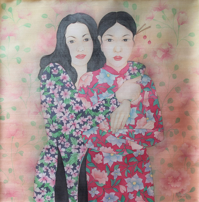 NTCG_ Chị Em 2_ Sisters 2_2020_Water color and pigment on silk_80 x 80 cm