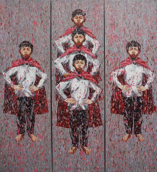 Nguyen Trong Minh_Toi La Sieu Nhan_I Am A Superman_2016_Oil on canvas_170 x 50 cm x 3 pieces