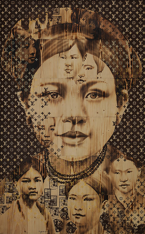 NVS_Con Duong To Lua_Silk Road_2021_Wood burn, mixed media on wood, 240 x 150 cm